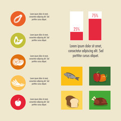 chicken bread fish pepper nutrition infographic menu food icon. Colorfull and flat illustration