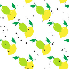 Lemons and limes seamless pattern with hexagon dot on white background. Colorful vector illustration