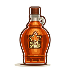Vector logo Maple Syrup Bottle, cartoon cruet sweet maple nectar with cap, souvenir glass bottle canadian syrup with leaf on label, isolated on white background, vermont homemade dessert for breakfast