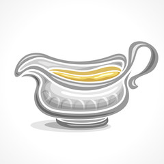 Vector abstract logo ceramic gravy boat with handle, filled homemade yellow sauce close-up, isolated on white background