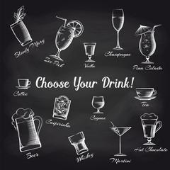 Hand drawn cocktails set on chalkboard and text Choose your drink. Bar cafe or restaurant vector illustration