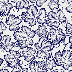 Botanical seamless pattern with sketched grapes leaves. Vector illustration