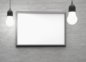 bulb light with frame on the wall for your text, logo, image. 3d