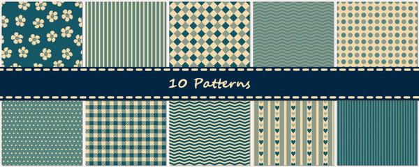 10 nahtlose Muster Hintergründe vintage blau als Set mit Streifen, Punkten und Karos