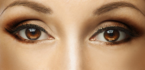 Beauty Woman eyes closeup. Beautiful Perfect Fresh Clean Skin.