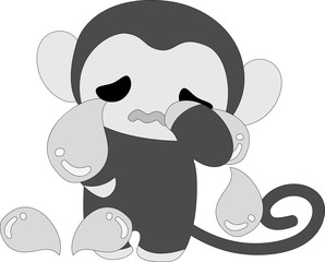 Pretty monkey to spill large drop of tears on