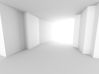 Abstract white architecture background. Empty futuristic interio