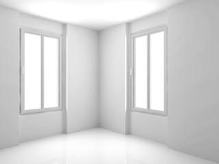 White Empty Interior. Modern Architecture Background