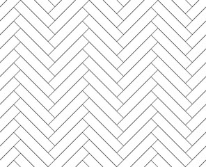 Black and white simple wooden floor herringbone parquet seamless pattern, vector