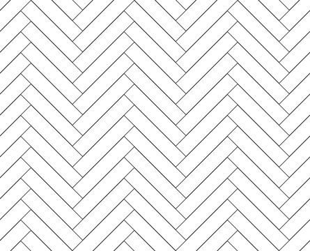 Black and white simple wooden floor herringbone parquet seamless pattern, vector