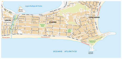 street map with names of the Ipanema district of Rio de Janeiro