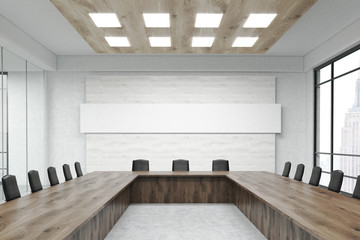 Conference room interior with large window