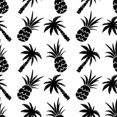 Seamless pattern with palm ttees,  pineapples