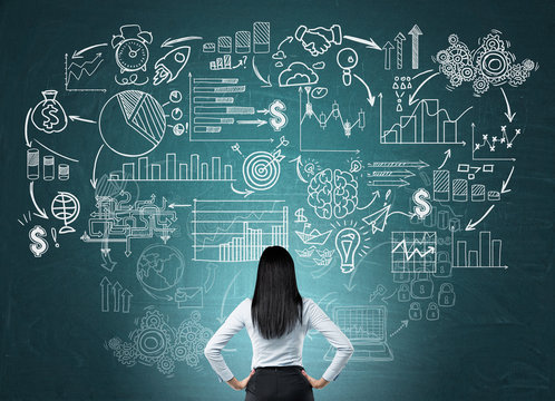 Businesswoman developing company business strategy