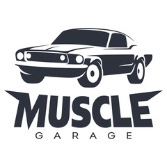 Muscle car Garage Logo black