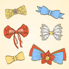 Set  of bow.The EPS format. Illustration includes 6 beautiful bows. Vector illustration.