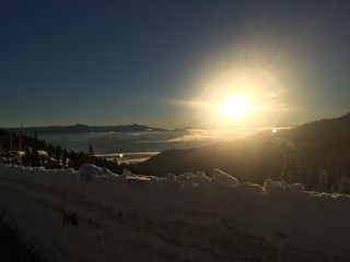 sunset in the snow mountains