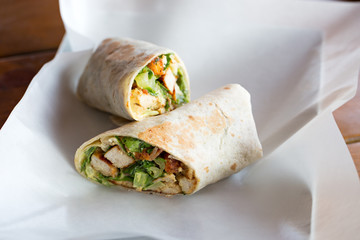 Chicken Caesar salad sandwich wraps