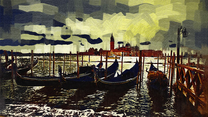 Venice art illustration - oil painting