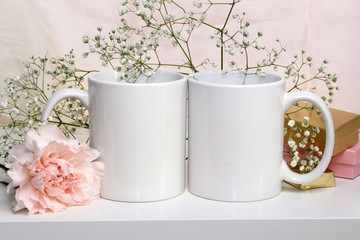 Two white mugs, cups. Wedding mockup.