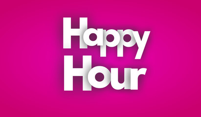 happy hour letters vector word banner sign