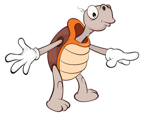 Illustration of a Cute Sea Turtle. Cartoon Character