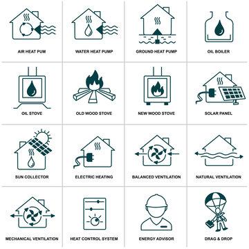 home energy icon set