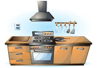 cartoon vector illustration cartoon stove Kitchen objects with separated layers
