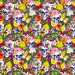 Human skulls, flowers, autumn leaves. Seamless pattern. Watercolor