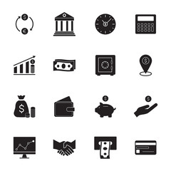 Finance and banking  icons. Simple money icons set.