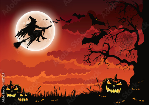 halloween scene with pumpkins bats and a wicked witch flying on her