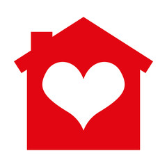 house silhouette heart isolated icon