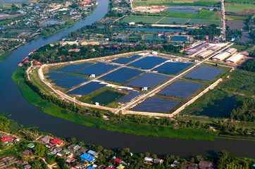 Solar farm solar panels aerial view