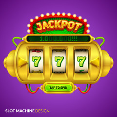 Gold slot machine illustration with screen and button. Eps10 vector.