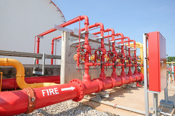 Water and foam line for fire protection system in fuel oil stora