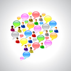 Speech bubbles and user icons vector background
