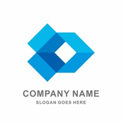 Open Box Geometric Square Shape Vector Logo Template