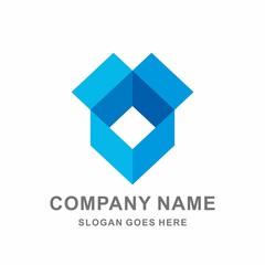 Open Box Geometric Square Shape Vector Logo Template
