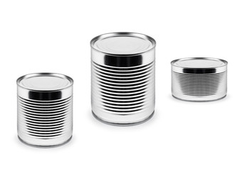 metal cans of different roominess  isolated on white background