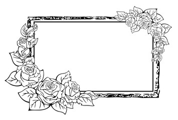 Decorative vector frame in graphic style, with floral elements