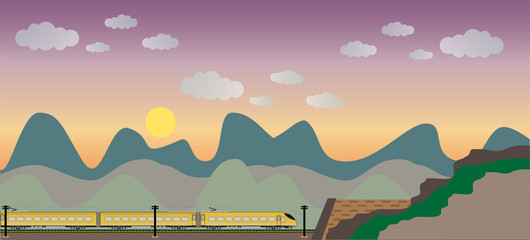 High speed train with mountain view background