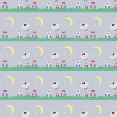 Seamless patterns with an owls. Flat, for children