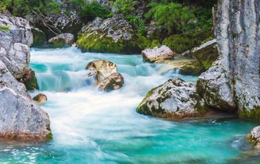 Foto op Aluminium Rivier Beautiful turquoise river in the Triglav National Park in Slovenia