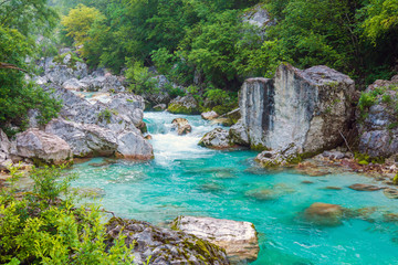 Tuinposter Rivier Beautiful turquoise river in the Triglav National Park in Slovenia