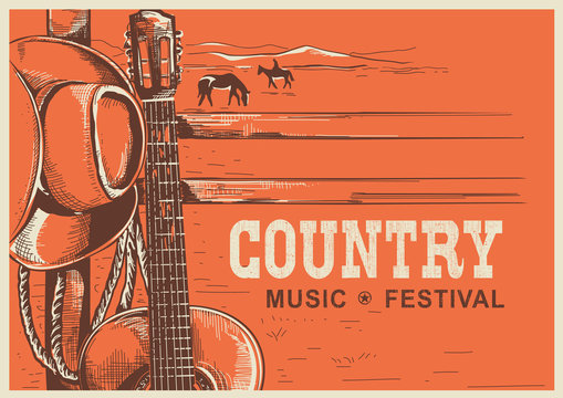 American country music poster with cowboy hat and guitar