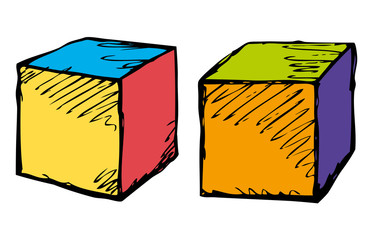 Cubes in different angles