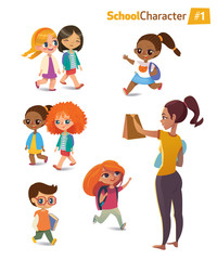Set of happy joyful cartoon kids in motion and woman. Vector illustration. Isolated.