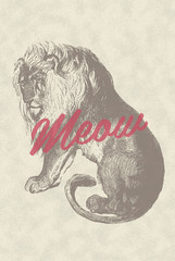 Retro Vintage Overlay Poster with Lion