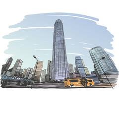 Hong Kong city unusual perspective hand drawn, vector illustration
