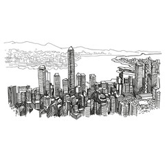 Hong Kong city unusual perspective hand drawn, vector illustration